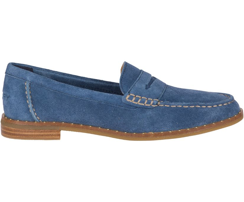 Seaport Penny Suede Stud Loafers, Navy, dynamic