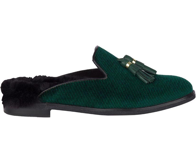 Seaport Levy Tassel Fur Mule, Green, dynamic