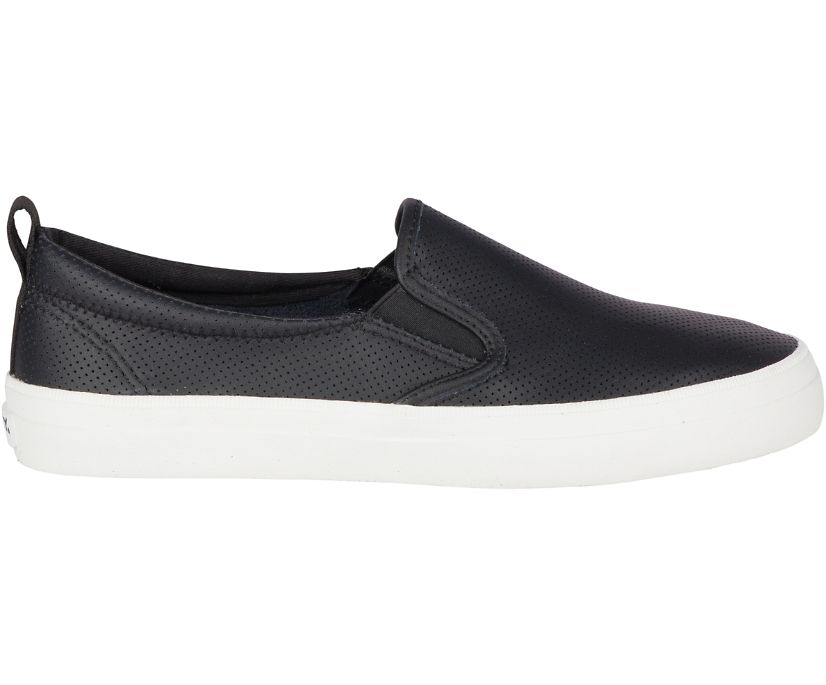 Crest Twin Gore Perforated Slip On Sneaker, Black, dynamic