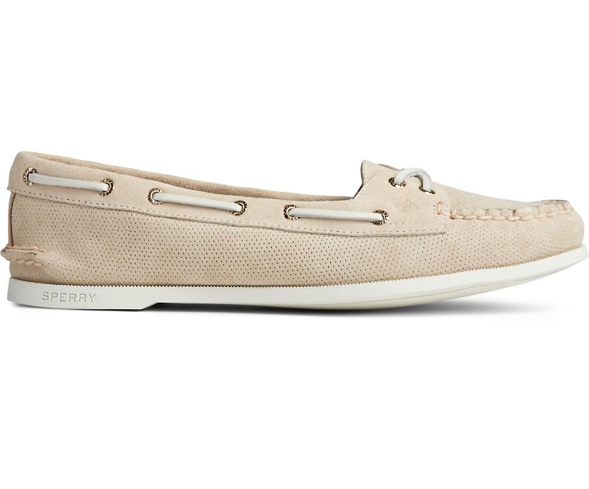 Authentic Original Skimmer Pin Perforated Boat Shoe, Ivory, dynamic