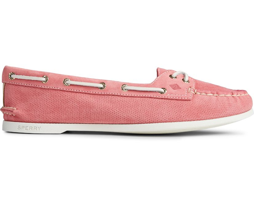 Authentic Original Skimmer Pin Perforated Boat Shoe, Coral, dynamic