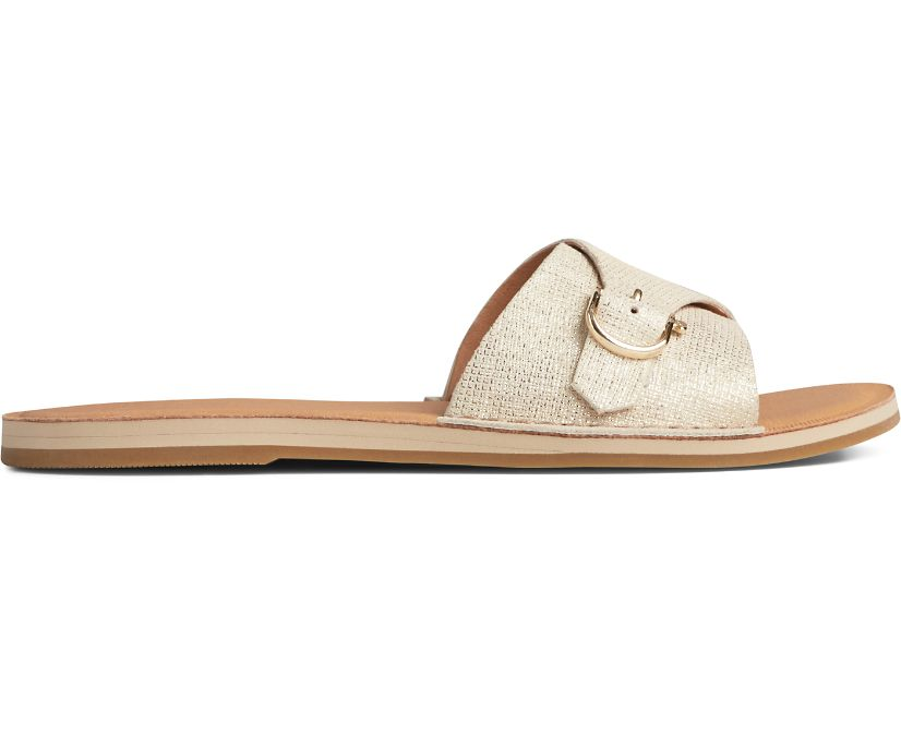 Seaport Metallic Leather Slide Sandal, Platinum, dynamic
