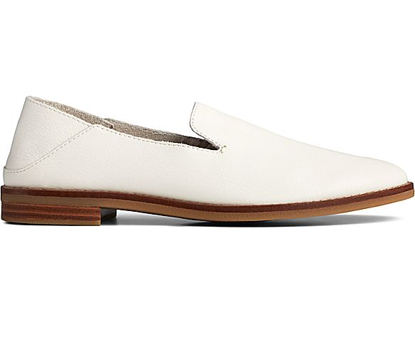 Seaport Levy Smooth Leather Loafer, Ivory, dynamic