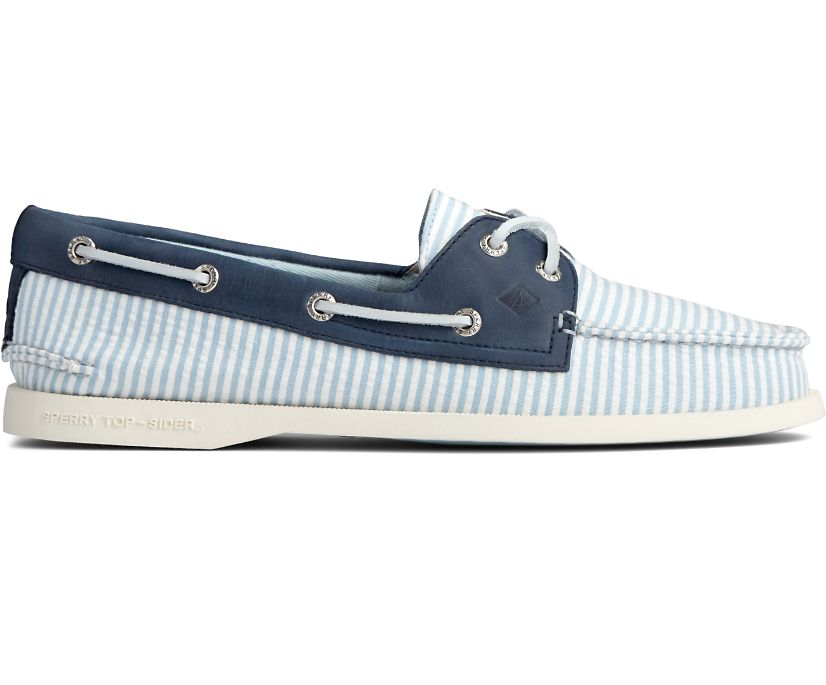 Authentic Original Seersucker Stripe Boat Shoe, Blue, dynamic