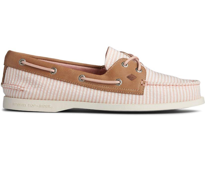 Authentic Original Seersucker Stripe Boat Shoe, Pink, dynamic