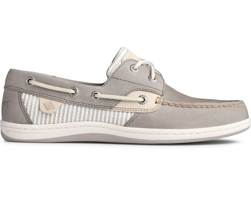 Koifish Seersucker Stripe Boat Shoe, Cement, dynamic