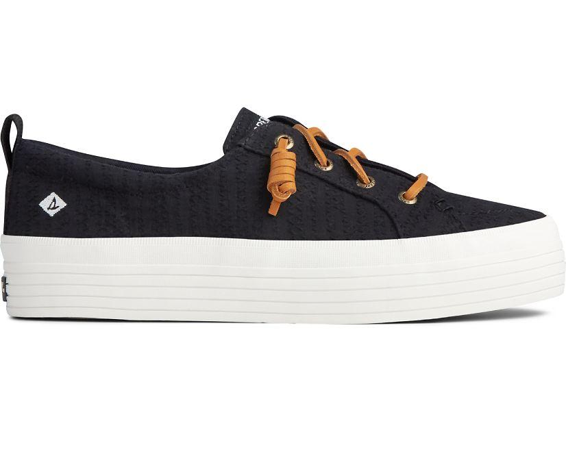 Crest Vibe Smocked Hemp Platform Sneaker, Black, dynamic