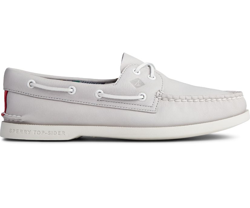 Authentic Original PLUSHWAVE Smooth Leather Boat Shoe, Grey, dynamic