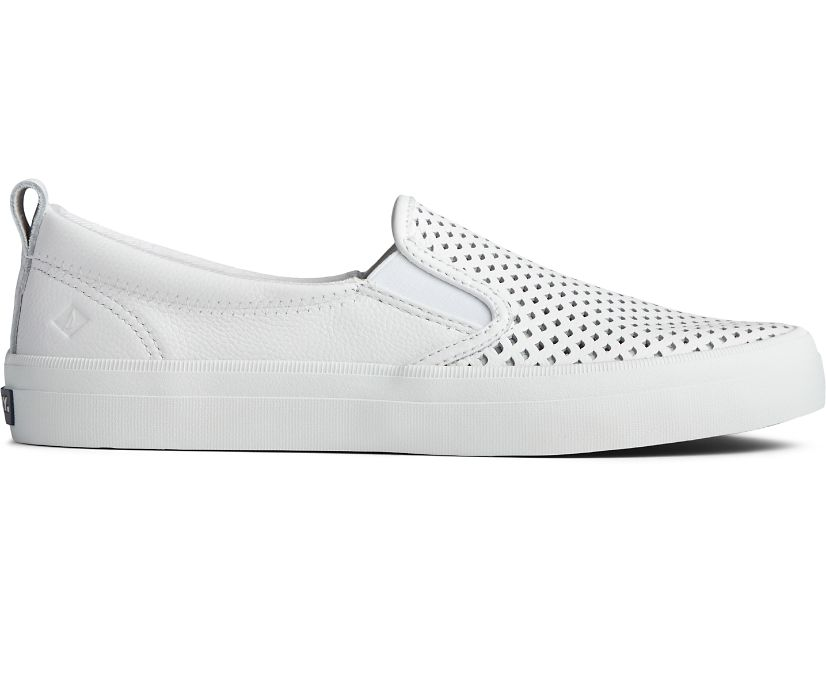 Crest Twin Gore Scalloped Perforated Sneaker, White, dynamic