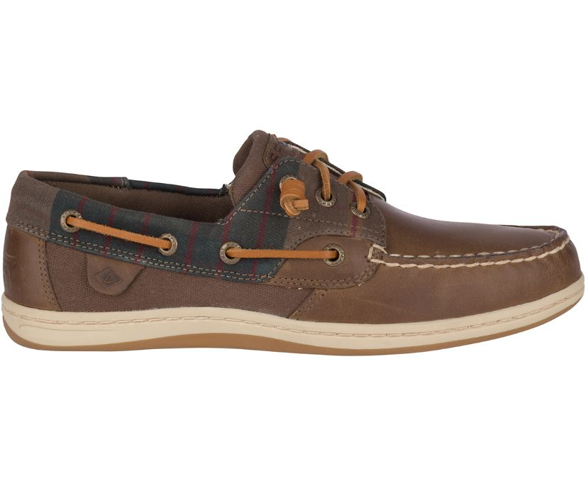 Songfish Plaid Boat Shoe, Tan, dynamic