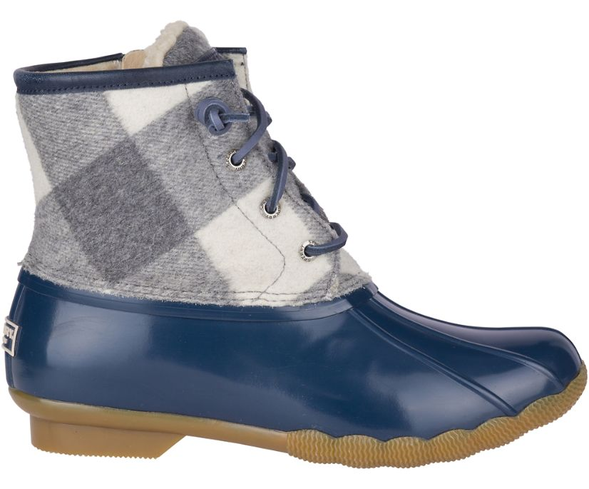 Saltwater Buffalo Check Duck Boot, Blue, dynamic
