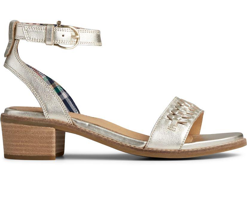 Seaport Ankle Strap City Sandal, Platinum, dynamic