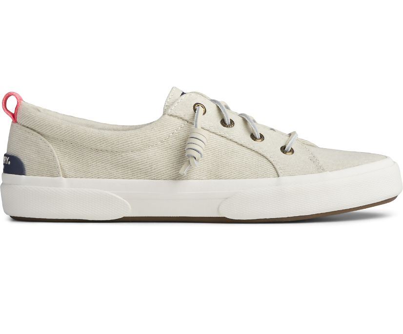 Pier Wave LTT White Washed Twill Sneaker, Bone White, dynamic