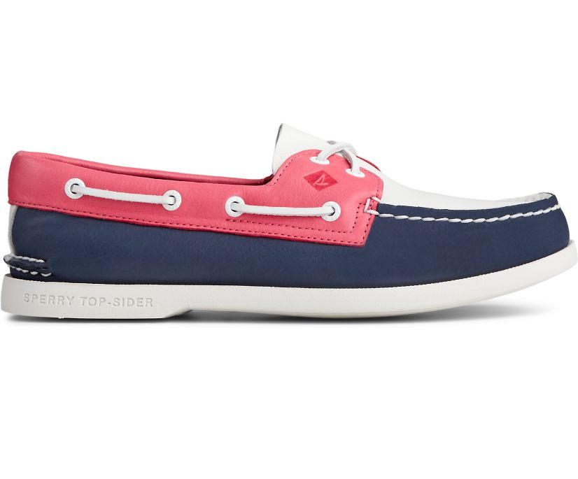 Authentic Original PLUSHWAVE Smooth Leather Boat Shoe, Navy/White/Red, dynamic