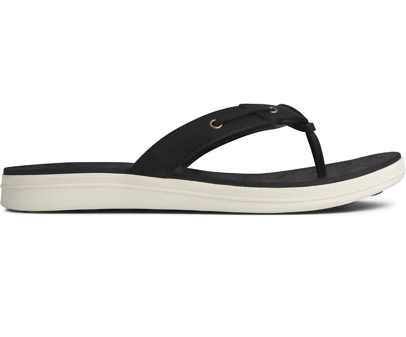 Adriatic Thong Skip Lace Leather Flip Flop, Black, dynamic