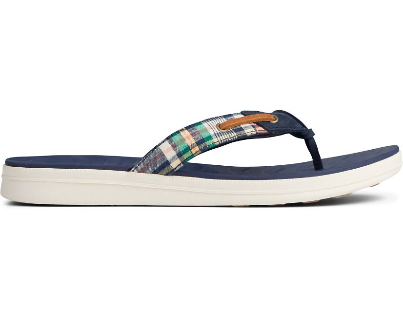 Adriatic Skip Lace Washed Plaid Flip Flop, Kick Back Plaid, dynamic