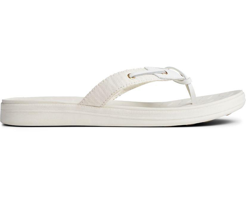 Adriatic Skip Lace Seersucker Flip Flop, White/White, dynamic