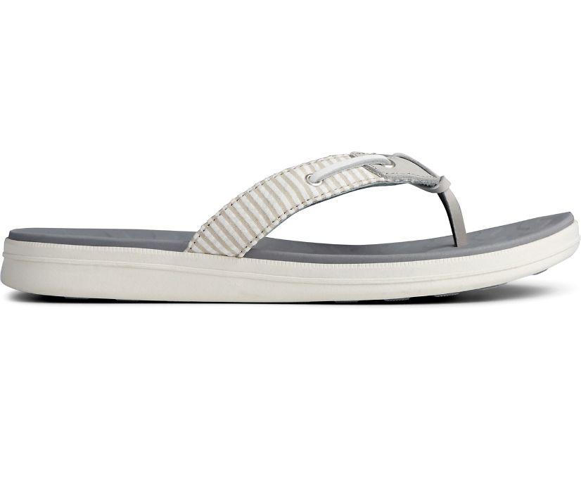 Adriatic Skip Lace Seersucker Flip Flop, Grey/White, dynamic