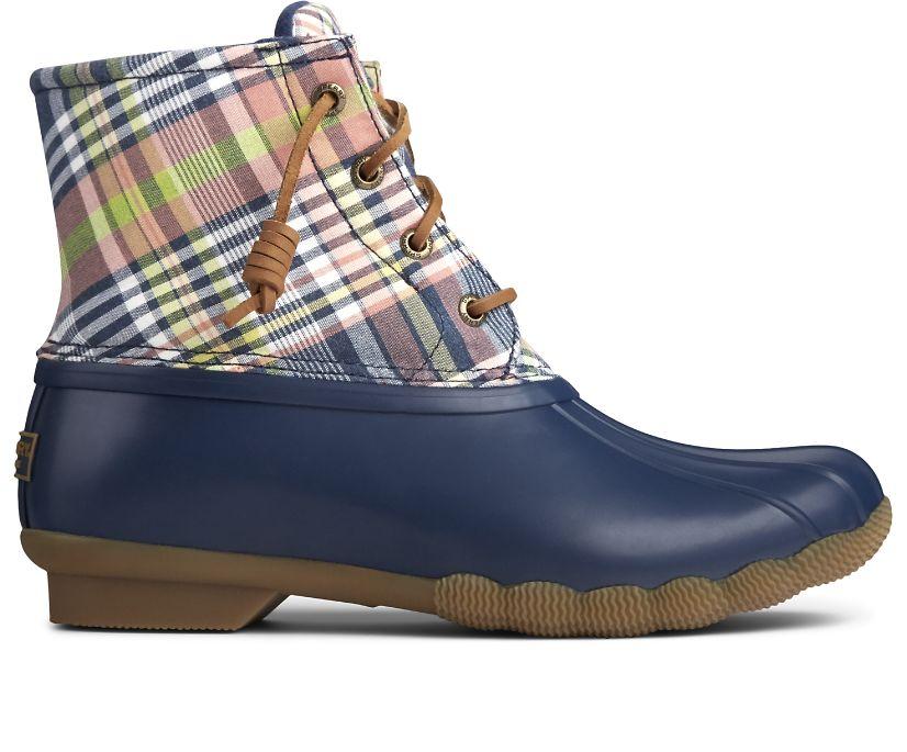 Saltwater Plaid Duck Boot, Navy/Plaid, dynamic