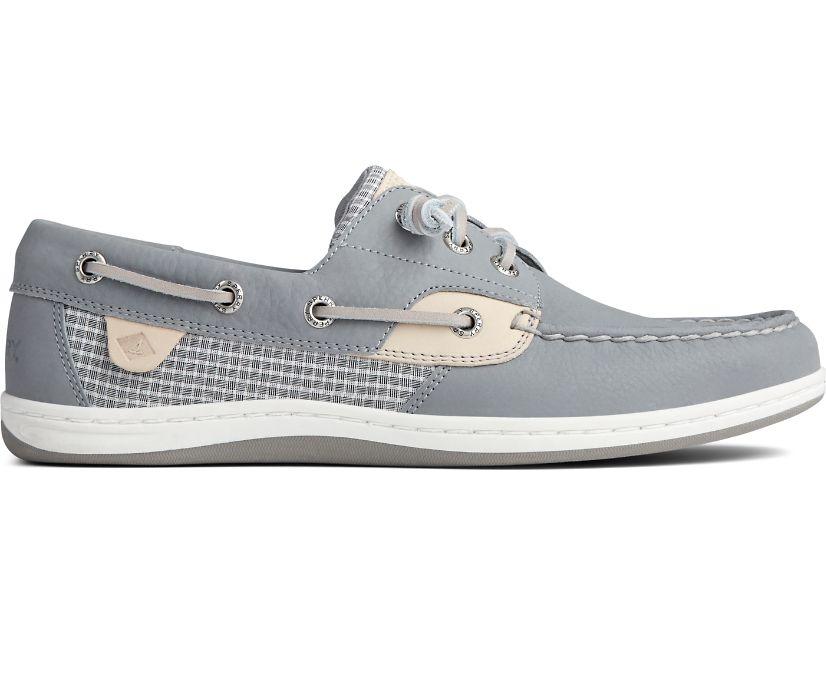 Songfish Mini Check Boat Shoe, Grey, dynamic