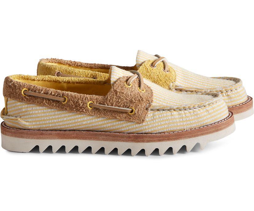 Cloud Authentic Original Seersucker 2-Eye Boat Shoe, Yellow, dynamic