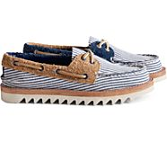 Cloud Authentic Original Seersucker 2-Eye Boat Shoe, Navy, dynamic