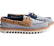 Cloud Authentic Original Seersucker 2-Eye Boat Shoe, Navy, dynamic