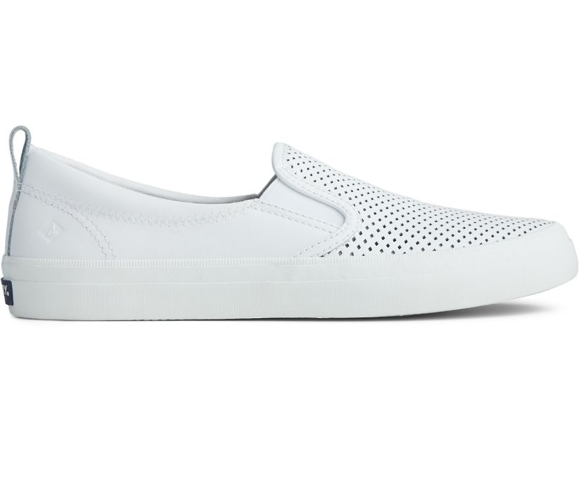 Crest Twin Gore Perforated Slip On Sneaker, White, dynamic