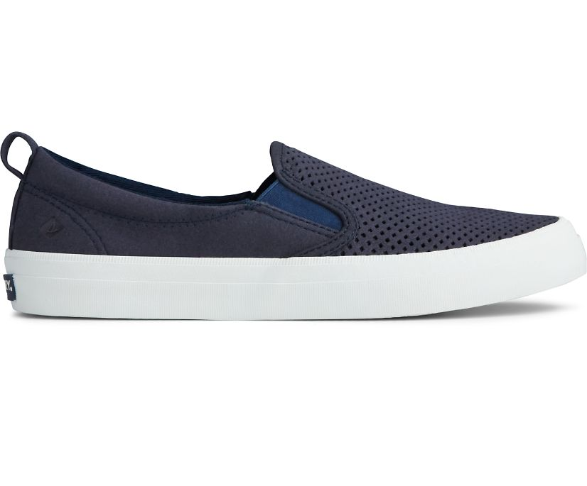 Crest Twin Gore Perforated Slip On Sneaker, Navy, dynamic