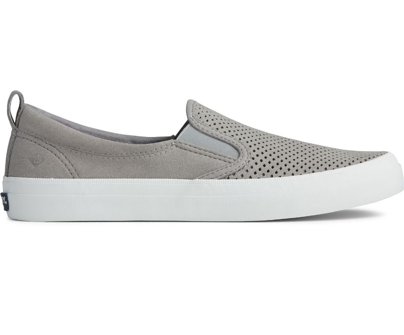 Crest Twin Gore Perforated Slip On Sneaker, Grey, dynamic