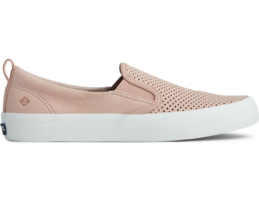 Crest Twin Gore Perforated Slip On Sneaker, Rose Dust, dynamic