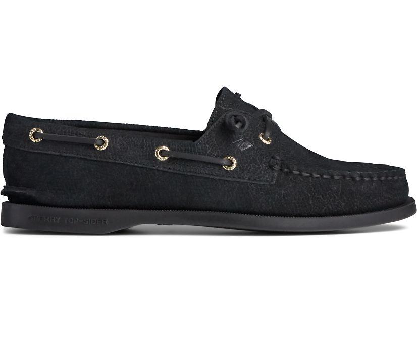 Authentic Original Vida Serpent Leather Boat Shoe, Black, dynamic