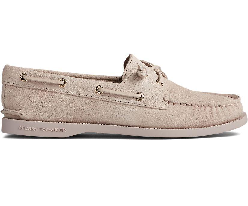 Authentic Original Vida Serpent Leather Boat Shoe, Ivory, dynamic