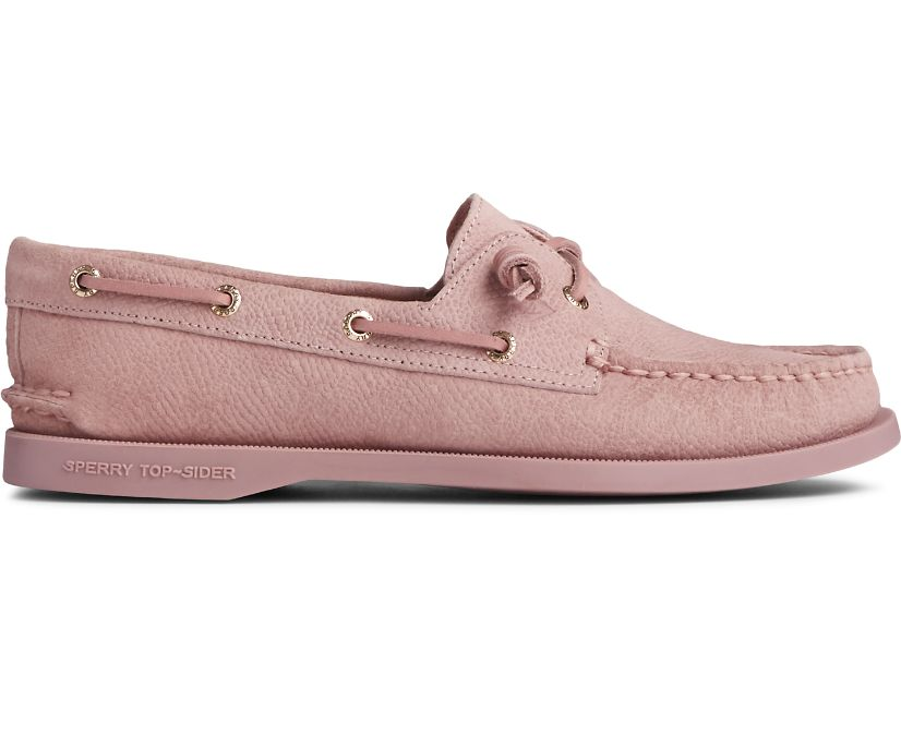 Authentic Original 2-Eye Vida Serpent Leather Boat Shoe, Blush, dynamic