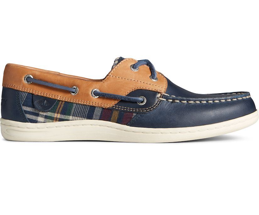 Koifish Plaid Leather Boat Shoe, Tan/Navy, dynamic