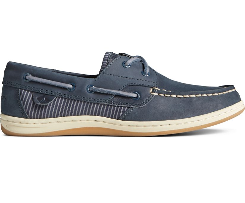 Koifish Railroad Stripe Leather Boat Shoe, Navy, dynamic