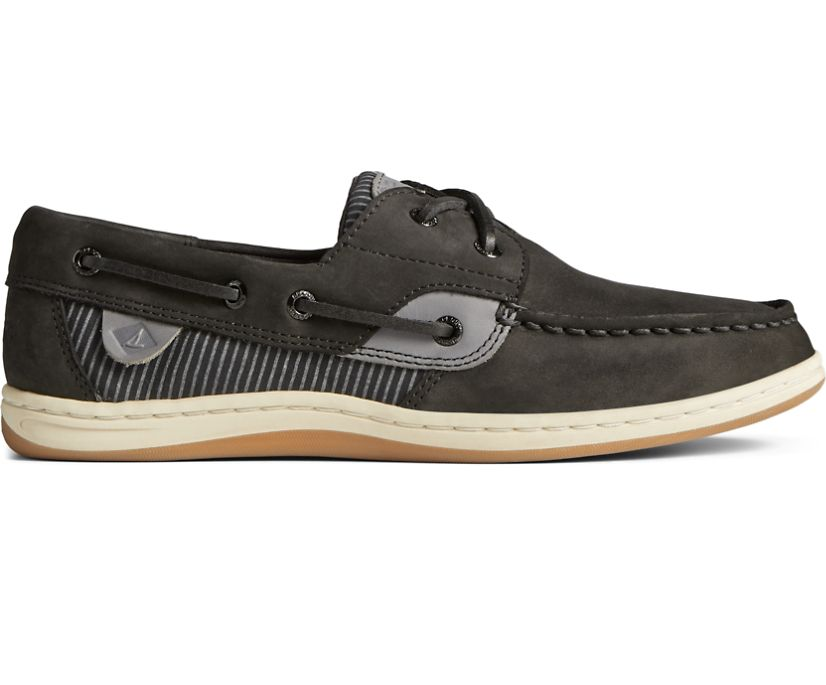 Koifish Railroad Stripe Leather Boat Shoe, Black, dynamic