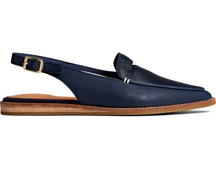 Saybrook Tumbled Leather Slingback, Navy, dynamic