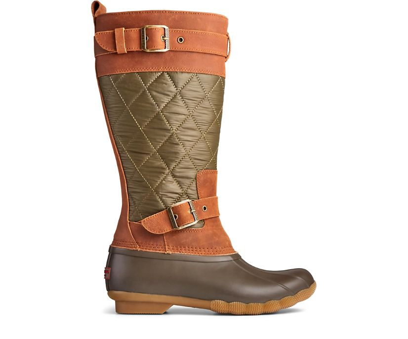 Saltwater Tall Nylon Duck Boot, Olive/Brown, dynamic