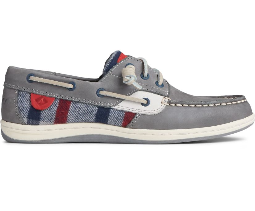Songfish Wool Plaid Leather Boat Shoe, Grey, dynamic