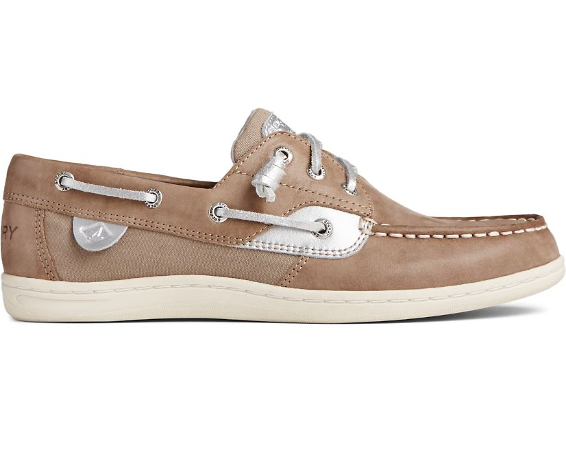 Songfish Starlight Leather Boat Shoe, Dove, dynamic
