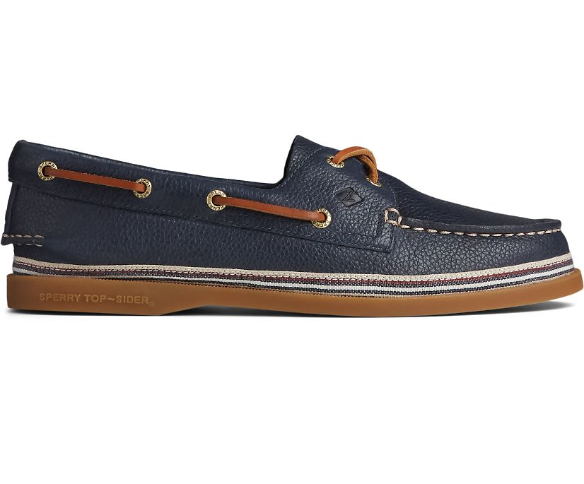 Authentic Original Tumbled Leather Boat Shoe, Navy, dynamic