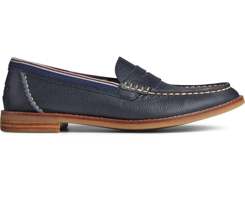Seaport Penny Tumbled Leather Loafer, Navy, dynamic