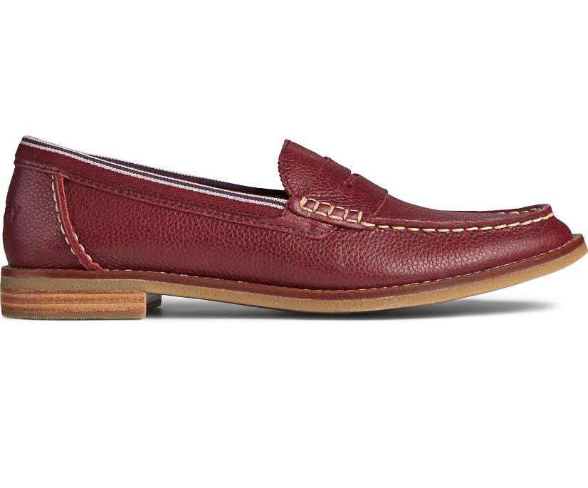 Seaport Penny Tumbled Leather Loafer, Cordovan, dynamic
