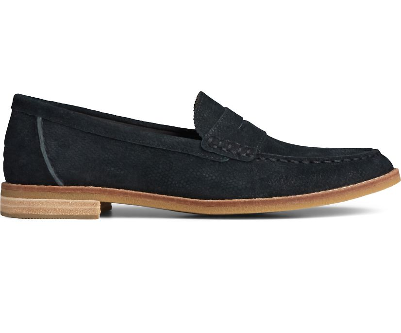 Seaport Penny Serpent Leather Loafer, Black, dynamic