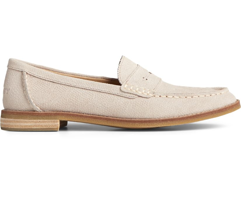 Seaport Penny Serpent Leather Loafer, Ivory, dynamic