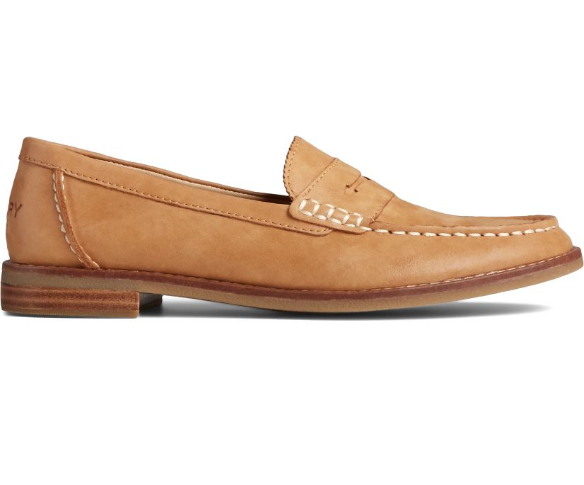 Seaport Penny Starlight Leather Loafer, Tan, dynamic