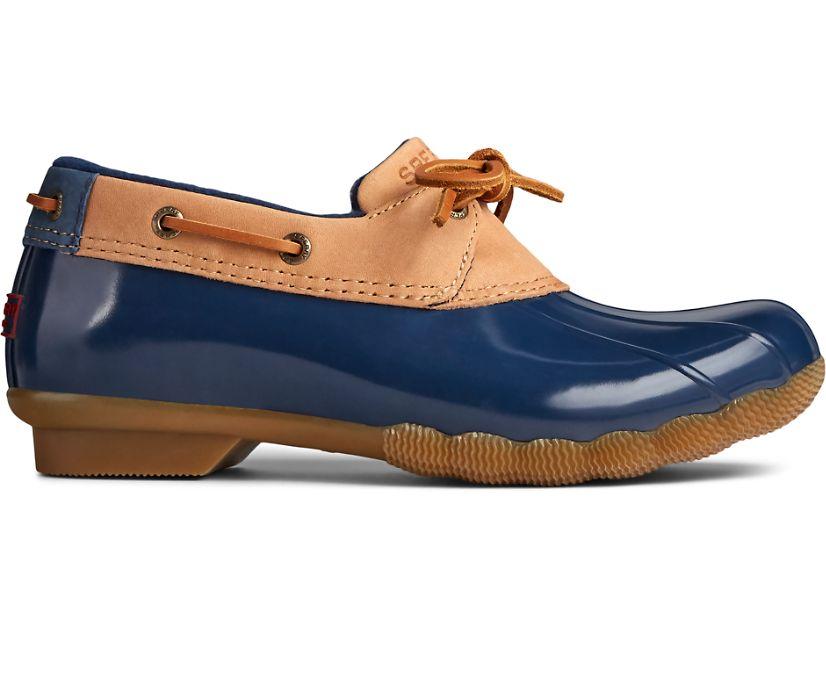 Saltwater 1-Eye Leather Duck Boot, Tan/Navy, dynamic