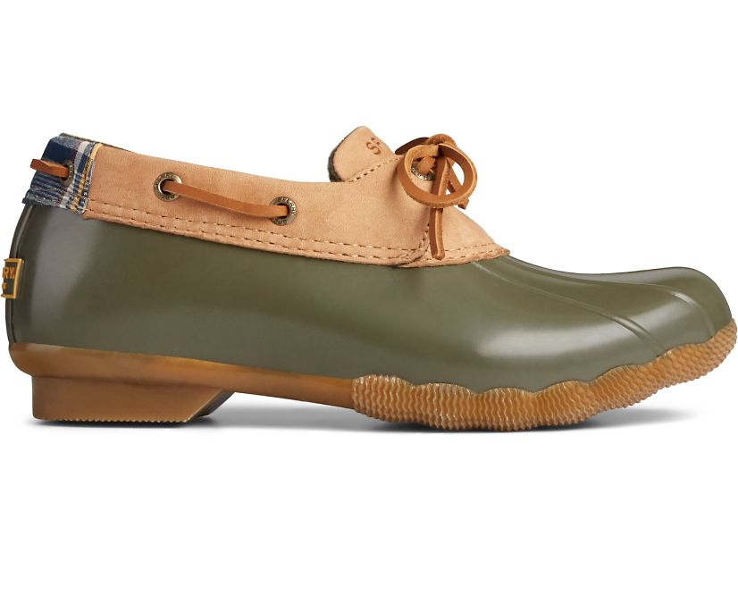 Saltwater 1-Eye Leather Duck Boot, Tan/Olive, dynamic