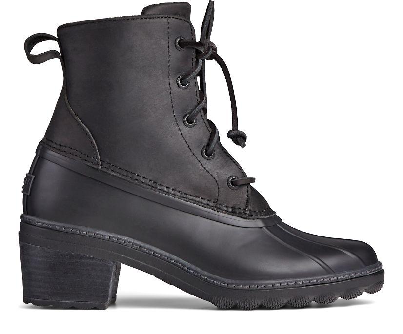 Saltwater Heel Leather Duck Boot, Black, dynamic
